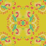 Абстрактная безшовная картина на желтой предпосылке также вектор иллюстрации притяжки corel Стоковые Фото