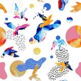 Абстрактная безшовная картина силуэтов летящей птицы, жидкие формы, геометрический, минимальные, grunge, doodles, текстуры иллюстрация вектора