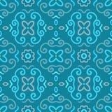 Абстрактная безшовная картина с винтажным голубым орнаментом Стоковые Изображения RF
