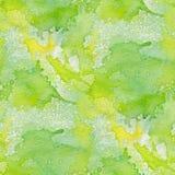 Абстрактная безшовная картина с зелеными пятнами акварели Стоковые Изображения RF