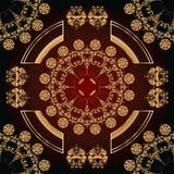 Абстрактная безшовная картина с золотыми флористическими орнаментами Стоковое Фото