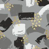 Абстрактная безшовная картина с золотыми ходами щетки Декоративная предпосылка для печатать Стоковое Фото