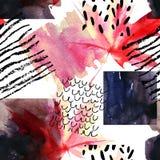 Абстрактная безшовная картина с квадратами акварели и осень покрасили кленовый лист Стоковая Фотография RF