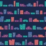 Абстрактная безшовная картина с красочными домами Стоковая Фотография RF