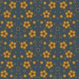 Абстрактная безшовная картина с оранжевыми пузырями и цветками бесплатная иллюстрация