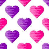 Абстрактная безшовная картина с плоскими геометрическими сердцами Стоковое фото RF