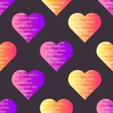 Абстрактная безшовная картина с плоскими геометрическими сердцами Стоковое Изображение RF