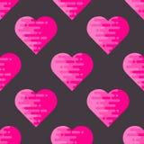 Абстрактная безшовная картина с плоскими геометрическими сердцами Стоковые Фото