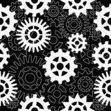Абстрактная безшовная картина с шестернями на черной предпосылке иллюстрация вектора