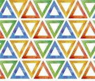 Абстрактная безшовная плитка картины от пестротканых красных голубых зеленых желтых треугольников на белой предпосылке Подобие пр иллюстрация штока