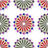 Абстрактная безшовная покрашенная яркая картина обоев вектора с этническим дизайном Картина круглого дизайна безшовная Стоковые Изображения RF