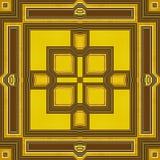Абстрактная безшовная ретро коричневая и желтая картина линий, прямоугольников и квадратов Стоковое Изображение RF