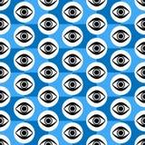 Абстрактная безшовная синь, черно-белая геометрическая картина с моргать глазами бесплатная иллюстрация