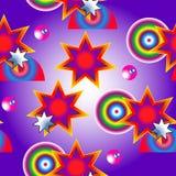 Абстрактная безшовная текстура состоя из звезд и шариков Стоковые Изображения
