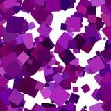 Абстрактная безшовная хаотическая квадратная предпосылка картины - векторная графика от фиолетовых квадратов с влиянием тени Стоковая Фотография RF