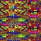Абстрактная безшовная этническая картина в ярких цветах, этнический мотив иллюстрация штока