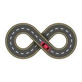 Абстрактная бесконечная дорога изолированная на белой предпосылке Автомобиль красного цвета шаржа Проезжая часть иллюстрация вектора