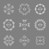 Абстрактная белая линия установленные логотипы значка стрелки Стоковые Изображения