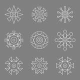 Абстрактная белая линия установленные логотипы дизайна значка Стоковые Фото