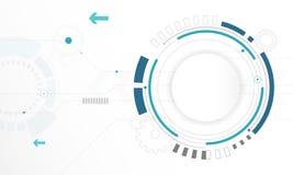 Абстрактная белая предпосылка цифровой технологии круга, футуристическая предпосылка концепции элементов структуры иллюстрация штока
