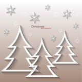 Абстрактная белая рождественская елка, плоский дизайн Стоковая Фотография RF