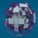Абстрактная белая сфера с фиолетовыми краями иллюстрация вектора