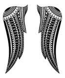 Абстрактная белизна черноты татуировки крылов иллюстрации вектора Стоковое фото RF