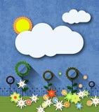 Абстрактная бумага отрезала с солнцем, облаком и цветками на текстуре голубой бумаги Стоковые Фотографии RF