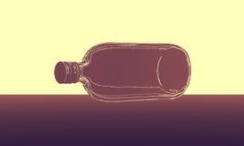 Абстрактная бутылка на поле Стоковые Фото