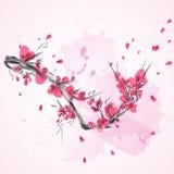Абстрактная ветвь вишни Сакуры Японии Стоковые Изображения