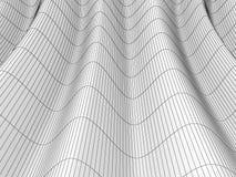 Абстрактная волнистая поверхность провод-рамки, 3D Иллюстрация вектора