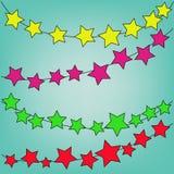 Абстрактная волшебная красочная звезда на голубой предпосылке Стоковые Фотографии RF