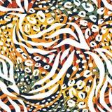 Абстрактная геометрическая безшовная картина с животной печатью Стоковое фото RF