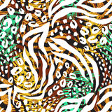 Абстрактная геометрическая безшовная картина с животной печатью Стоковые Фото