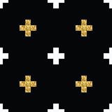 Абстрактная геометрическая безшовная картина с золотыми крестами Стоковые Изображения
