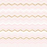 Абстрактная геометрическая безшовная картина с шевроном золото яркия блеска Стоковая Фотография RF