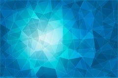 Абстрактная геометрическая голубая предпосылка с триангулярными полигонами Стоковое Изображение