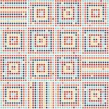 абстрактная геометрическая картина безшовная Красочные поставленные точки квадраты на белой предпосылке вектор Стоковые Изображения RF