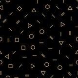 Абстрактная геометрическая мода Мемфиса золота и черноты конструирует картину иллюстрация штока
