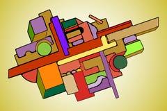 Абстрактная геометрическая предпосылка в иллюстрации вектора искусства suprematism стиля стоковая фотография rf