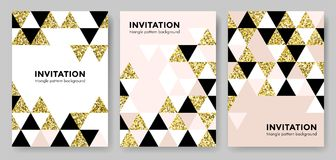 Абстрактная геометрическая предпосылка картины золота для шаблона дизайна карточки приглашения элемента квадрата и треугольника с Стоковое Изображение RF