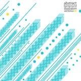 Абстрактная геометрическая предпосылка от прокладок линий кругов и вектора форм сине-желтого Стоковая Фотография