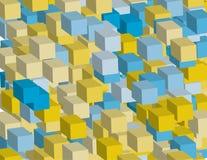 Абстрактная геометрическая предпосылка с квадратами, с влиянием равновеликого Трехмерный, иллюстрация вектора 3D Стоковая Фотография RF
