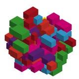 Абстрактная геометрическая предпосылка с красочными равновеликими прямоугольниками и кирпичами Трехмерный, иллюстрация вектора 3D Стоковая Фотография