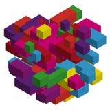 Абстрактная геометрическая предпосылка с красочными равновеликими прямоугольниками и кирпичами Трехмерный, иллюстрация вектора 3D Стоковые Изображения RF