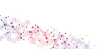 Абстрактная геометрическая текстура с молекулярными структурами и нервной системой Молекулы ДНК и генетические исследования плекс иллюстрация вектора