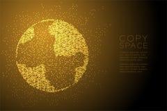 Абстрактная геометрическая форма глобуса точечного растра круга, иллюстрация цвета золота дизайна концепции технологии мирового б Стоковое Изображение