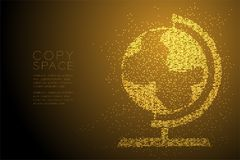 Абстрактная геометрическая форма глобуса точечного растра круга, иллюстрация цвета золота дизайна концепции технологии дела перем Стоковое Фото