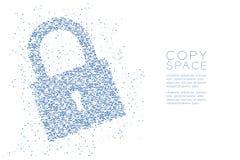 Абстрактная геометрическая форма замка точечного растра круга, иллюстрация цвета дизайна концепции уединения безопасностью голуба Стоковые Фотографии RF