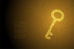 Абстрактная геометрическая форма ключа точечного растра круга, иллюстрация цвета золота дизайна концепции уединения безопасностью Стоковое Изображение